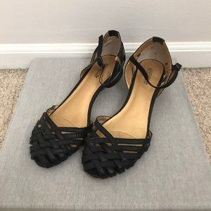 Seychelles Black Leather Woven Ankle Strap Heels